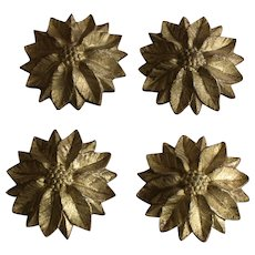 France late 19th century set of 4 ancient golden bronze elements with floral decor,''cache-pitons ''.