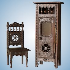 French Miniature Brittany Furniture Set, Display Cabinet and Chair.