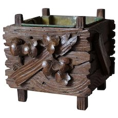 Antique 19th Century Small French Carved Wood Planter or Cache Pot,Foliage Decor.