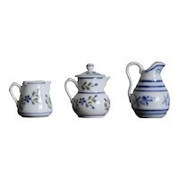 Set of 3 old French Bayeux porcelain miniatures for dollhouse.