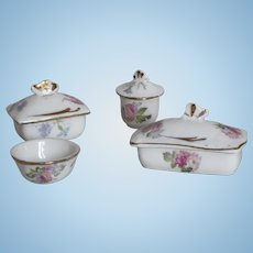 Lovely French miniature porcelain toilette set , 4 pieces for dollhouse.