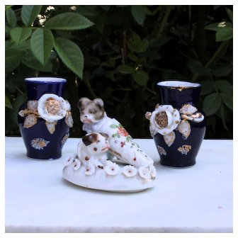 Set of 3 charming French porcelain pieces for dollhouse.Circa 1900.
