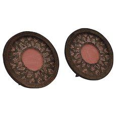 A pretty pair of French boudoir frames,moire fabric and metallic lace.Circa 1900-1920.