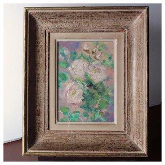 Pretty French Oil on Cardboard,Romantic Roses Bouquet Circa 1940