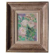 Pretty French Oil on Cardboard,Romantic Roses Bouquet Circa 1940