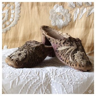 Rare and Exquisite Little Girl Shoes, Embroidered Velvet ,Antique Boudoir Treasure.