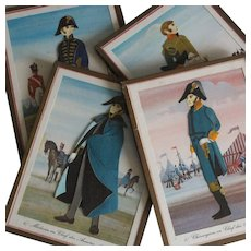 Amusing Set of 4 French Vintage ''Dressed'' pictures,Doctor and Surgeon of Napoleon Bonaparte's Army.