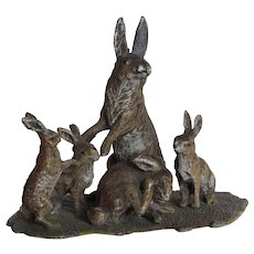 Antique Vienna or Nuremberg polychrome lead : lovely group of five rabbits ,late 19th century.