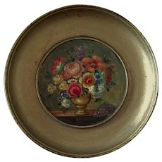 Pretty French Miniature Oil Painting Flowers Bouquet.Circa 1900-1920.