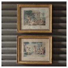 Lovely pair of Antique French color engravings ''Putti games'' 19th century.