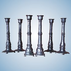 Set of Three Pairs of French Metal Candlestick For Dollhouse.