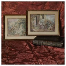 Pair of French watercolors, in the 18th century manner ''Lunch in the garden'',Circa 1920.