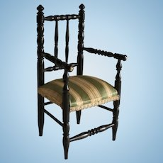 Antique French Napoleon III turned wood doll chair .Circa 1880