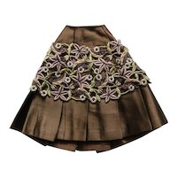 Elegant French pleated skirt glossy brown satin and colored guipure lace.