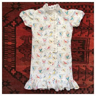 Adorable French Vintage Dress,Printed Fabric ''Birds Cages''.