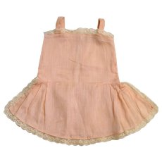Pretty  ancient French pink cotton slip, lace trimmed, for French or German doll.