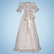 Charming ancient French doll dress in fine cotton and pink silk satin,lace and embroideries.