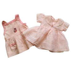 Set of two pretty French vintage dresses for small doll.