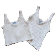 Set of two '' Petit Bateau '' label undershirts for doll.Circa 1940.