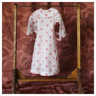 Charming Vintage French fine cotton doll dress, pink polka dot pattern.