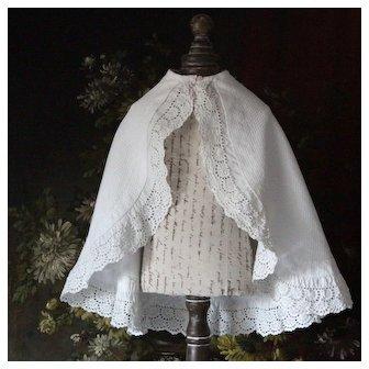 Pretty Antique French Doll Cape, Cotton Lace Trim.