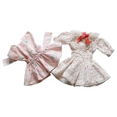 Set of Two Pretty French Vintage Dresses for Little Doll.