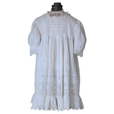 Charming Antique  ''Broderie Anglaise''  dress for little girl or large doll.France Circa 1880-1900.