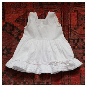 Charming Antique French Full Petticoat for Doll, white cotton and lace.