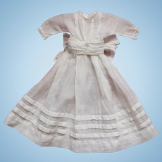 Pretty Antique French White Batiste Cotton Dress for Small Doll.