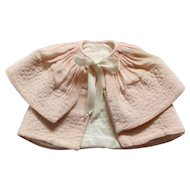 Vintage French Pink Topstitched Fabric Cape-Coat.