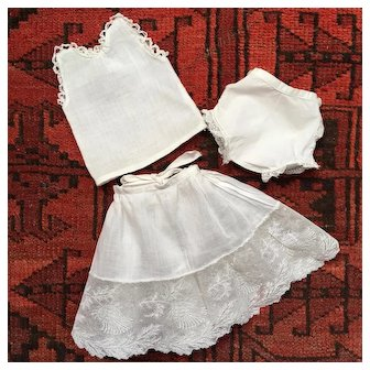 Set of 3 Ancient Pretty  French Undergarments for Small Doll.