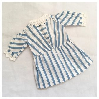 Pretty French Vintage Little Dress Blue And White Striped Cotton.