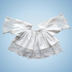 Pretty French Blouse for Doll, White Cotton and Lace.
