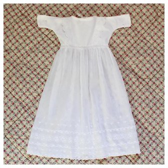 French Adorable Cotton Batiste and Embroidery Dress for Doll.Circa 1900