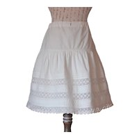 Beautiful French Cotton and Lace Petticoat for Large Doll.Circa 1880-1900