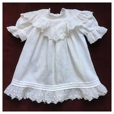 Pretty French Embroidered Cotton Little Dress Circa 1900