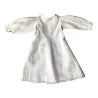 Charming French White Cotton Doll Dress Circa 1900.