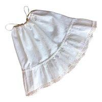 French Vintage White Cotton Half Slip,Petticoat