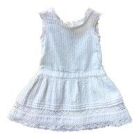 Pretty French White Cotton and Lace Doll Dress.Circa 1900.