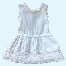 Pretty French White Cotton and Lace Doll Dress.Circa 1900.
