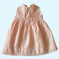 Little French Doll Dress,Embroidered Pink Cotton.