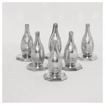 Original Set of 6 Metal French Place Card or Menu Holders,Perrier Bottle Advertising.Circa 1930.