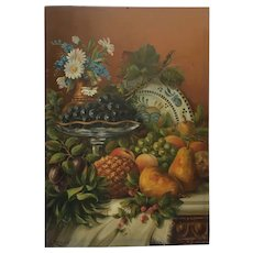 Decorative French Oil ,Still life Fruits and Flowers ,Signed F.Reps .Circa 1910