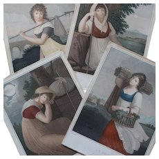 Set of Four Antique French Romantic Engravings ''A Whole Day'' .Circa 1800.