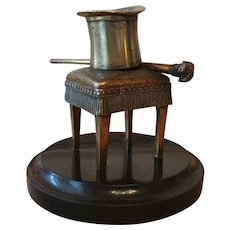 Uncommon Antique Bronze and  Brass French Match Holder :Top Hat and Stick on a Stool.
