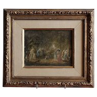 Charming early 19th century  French oil painting ''Walk in a park in the 18th century'' ''.