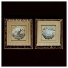 Pair of French 19th Century Gouache Miniatures. Animated Landscapes.