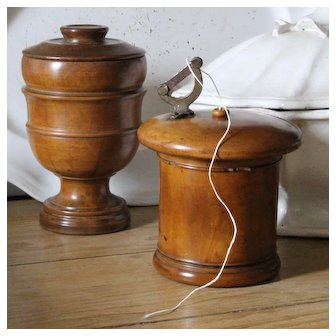 French Folk Art Set: Antique Turned Wood Pot and Boxwood String Holder.
