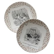 Amusing  pair of  French transfer ware plates:proverbs with animals.Sarreguemines Circa 1875-1900.