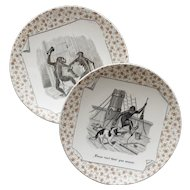 Amusing pair of French transfer ware plates: proverbs with animals.Sarreguemines Circa 1875-1900.